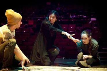 "Diane Paulus (center) talks about a scene in ""Pippin"" with Arsenal (left) and Gypsy Snider, the production's circus choreographer."